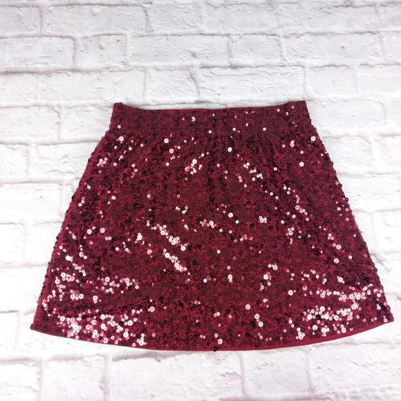 f9ba9f67b Garnet Hill Dresses & Skirts - Garnet hill sparkle sequin red skirt large  holiday